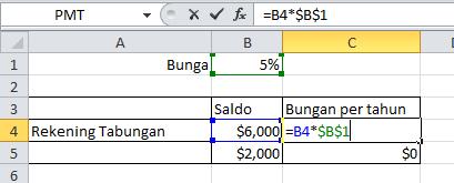 excel formula Absolut referensi perkalian menggunakan $