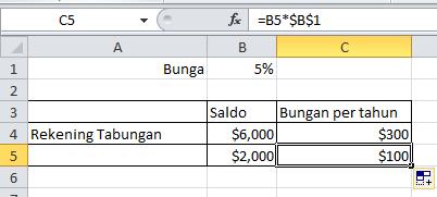 excel formula Absolut referensi perkalian menggunakan $ copy