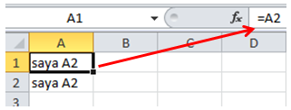 excel formula cell reference A1 = A2