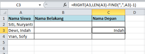 excel formula fungsi right