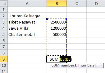 excel formula fungsi sum autosum jumlah