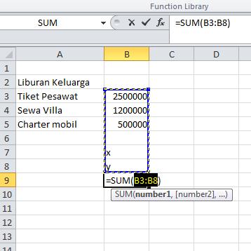 excel formula fungsi sum membuat kisaran