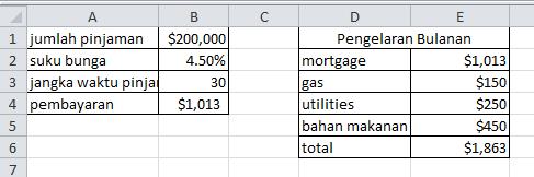 excel formula hasil menggunakan minus