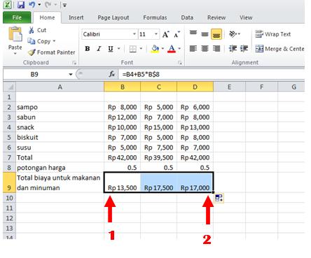excel formula copy relatif formula
