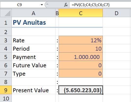 Menggunakan Fungsi Present Value PV