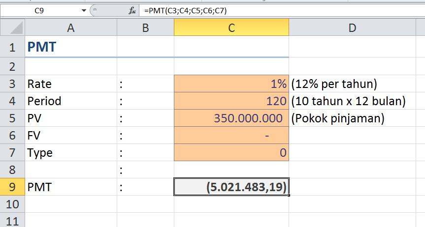 Menghitung Pembayaran Pinjaman dengan Microsoft Excel
