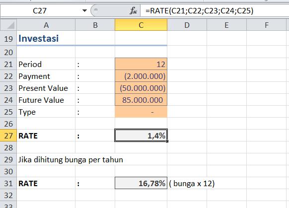 Menghitung Bunga Dengan Fungsi RATE Di Ms Excel2