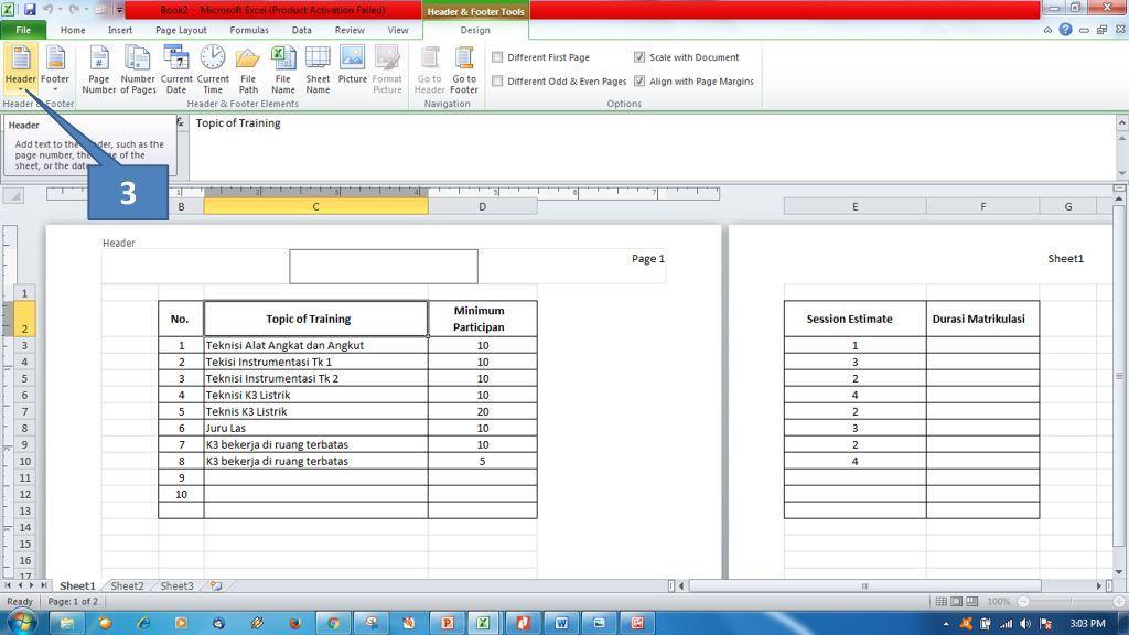 Menambahkan Header dan Footer di Ms Excel2