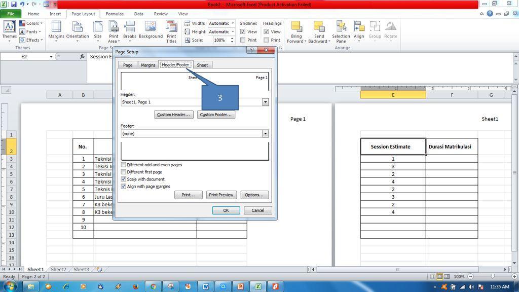 Menambahkan Header dan Footer di Ms Excel6