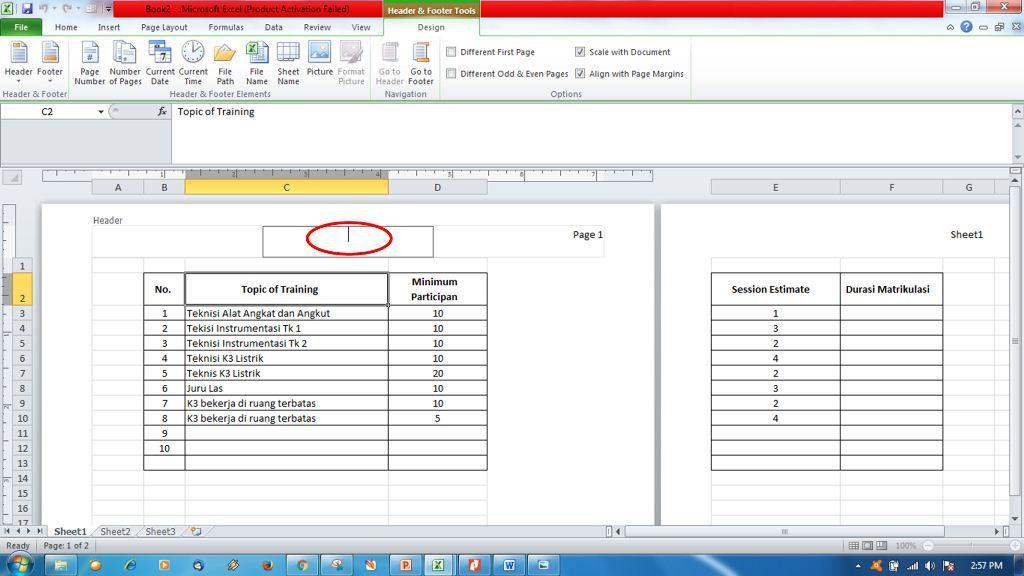 Menambahkan Header dan Footer di Ms Excel9