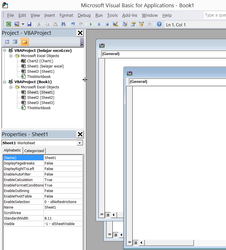 tampilan microsoft visual basic for application pada Ms Excel