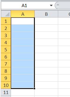 2-Belajar Ms Excel contoh memilih cell A1 sampai A10