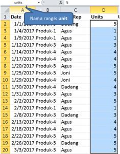 Menggunakan Range Names dalam Rumus Ms Excel