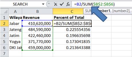 membuat persen distribusi dengan rumus excel SUM langsung di formula