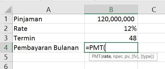 Argumen dari fungsi PMT