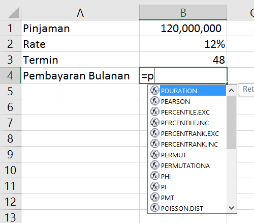 Contoh pemakaian fungsi Excel secara manual dengan huruf awal P.