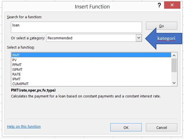 Mencari fungsi-fungi terkait kata kunci 'Loan' melalui Function Dialog Box.