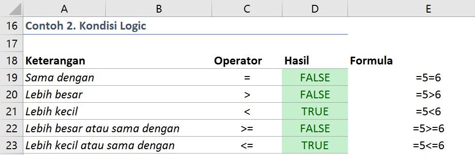 rumus excel dengan operator logika
