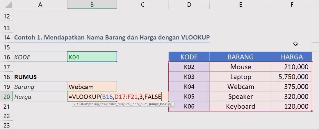 rumus vlookup contoh 1 untuk harga
