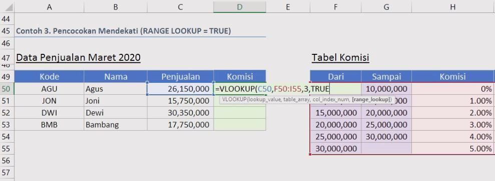 rumus vlookup untuk berdasarkan tabel komisi referensi true